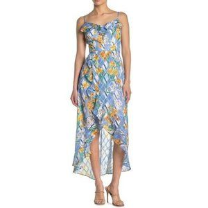 Kensie 10 Blue Multi Floral Burnout Dress NWT I28